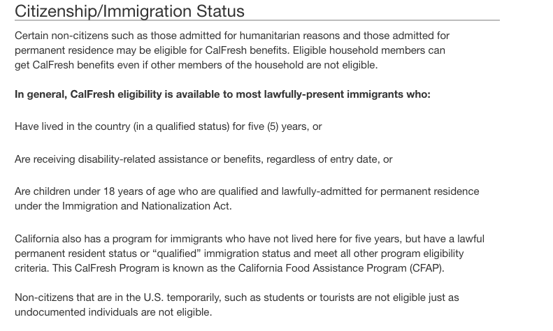 Qualification Guidelines For Food Stamps In California