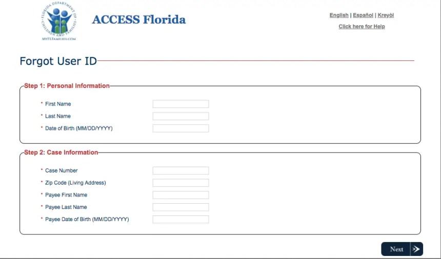 """Access Florida Account Reset Username and password"""