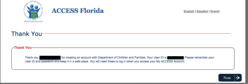 """Create a My ACCESS Florida Account - no case number"""