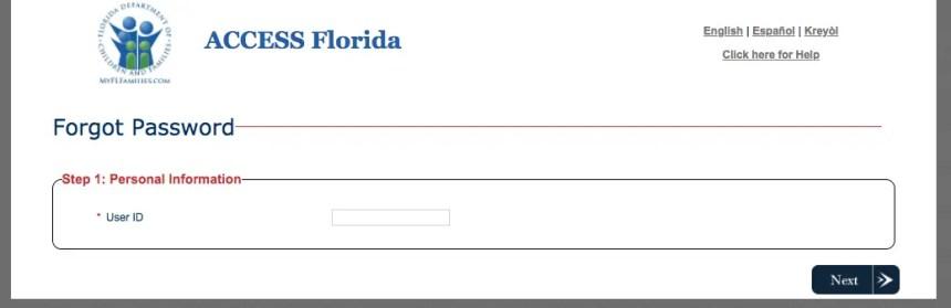 """""""My Access Florida Account password reset"""""""