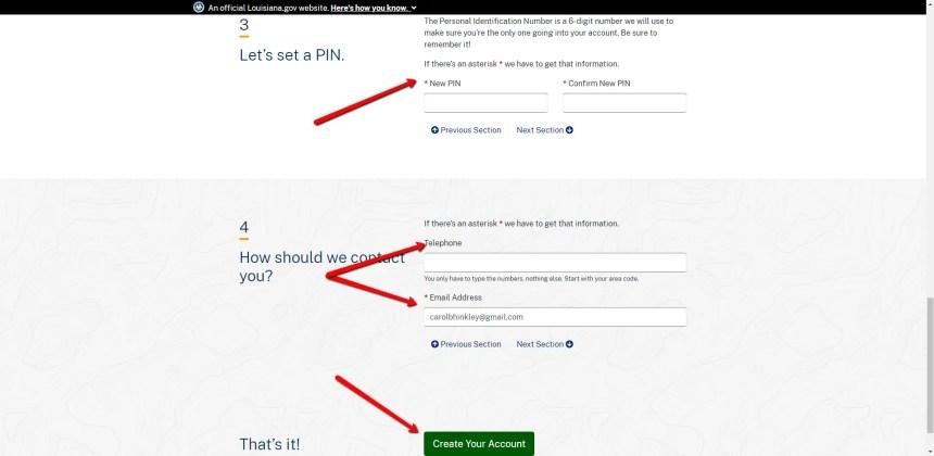 My.La.gov Create Account