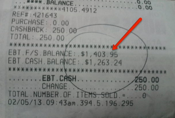 At The Bottom Of Your Receipt You Will Find Balance That Is Left On EBT Card As Shown Below