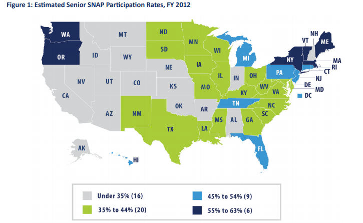 """Number of Seniors on Food Stamps by State"""