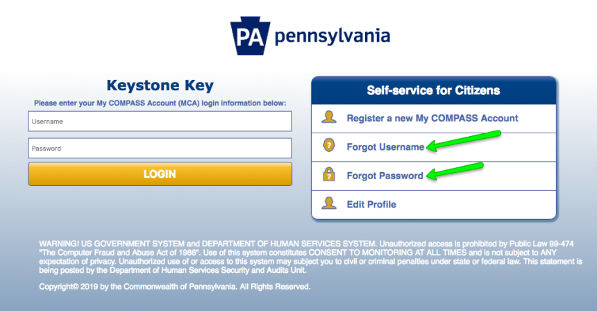 """""""Compass.state.pa.us Login - forgot username and password"""""""