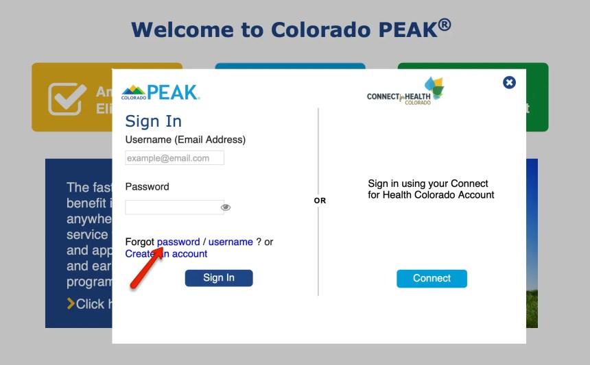 Colorado PEAK Password Reset