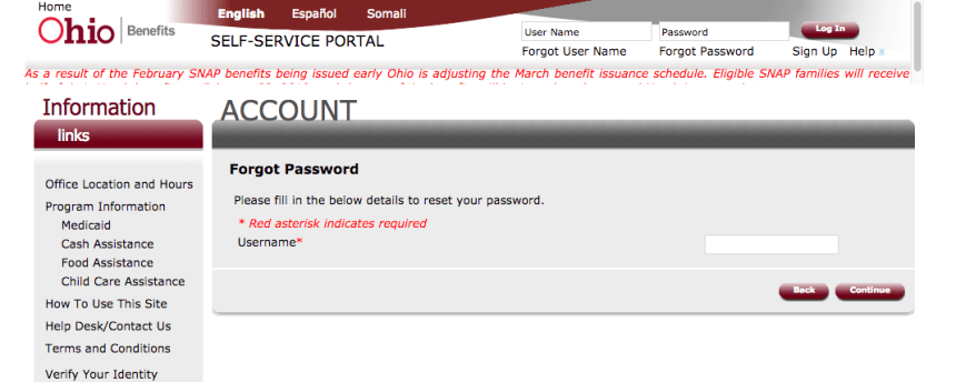"""Ohio ssp.benefits.ohio.gov password reset"""