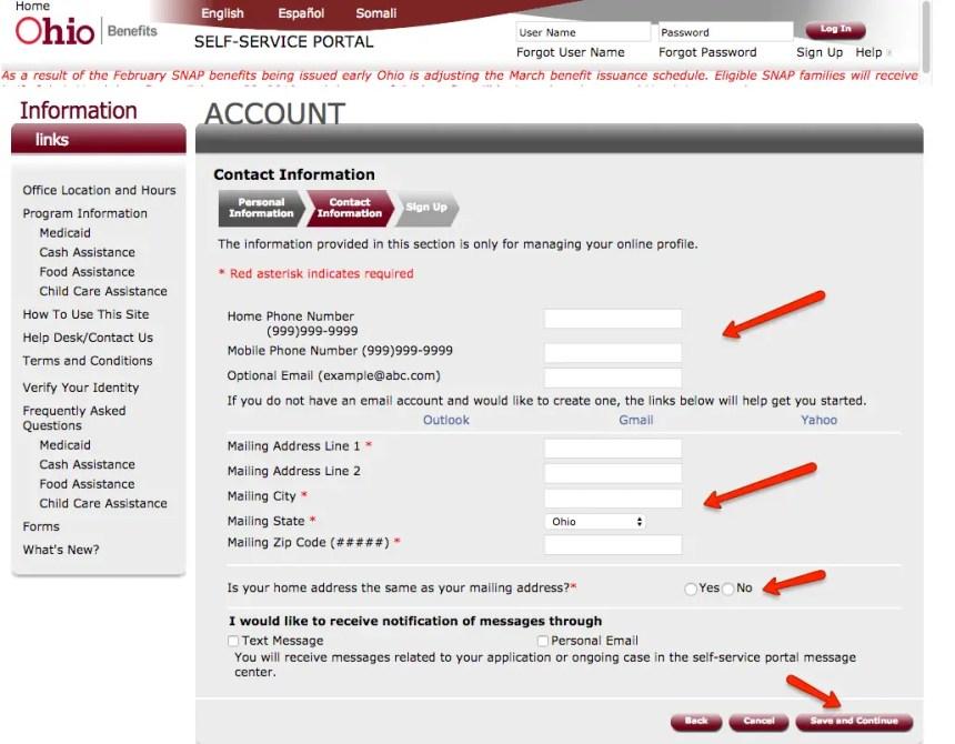 """ssp.benefits.ohio.gov create account 2"""