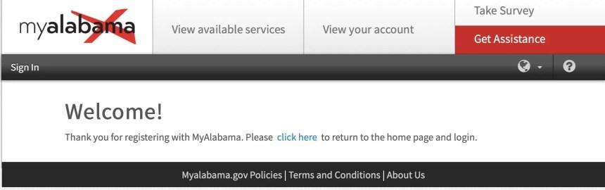 Alabama Account Welcome