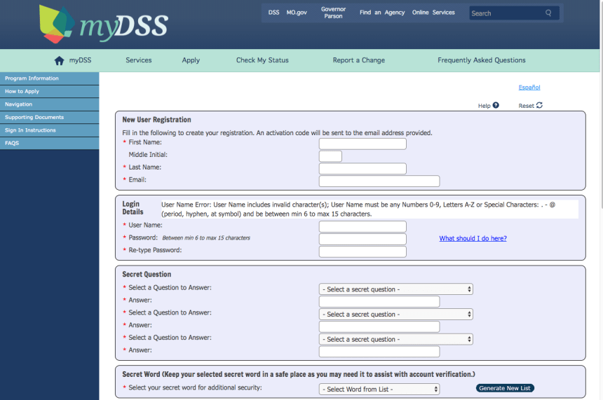 """""""How to Create Mydss Missouri Account - enter personal information"""""""