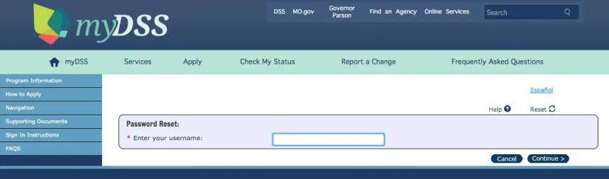 """Mydss Missouri login - forgot password"""