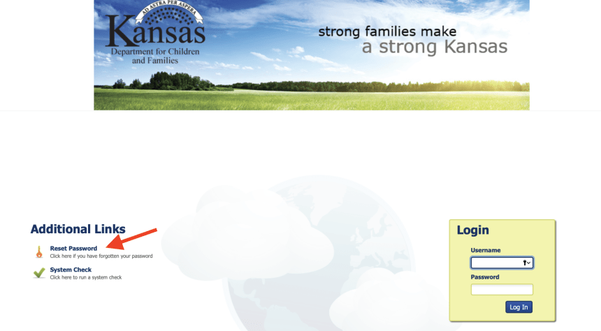 Reset Kansas DCF Password