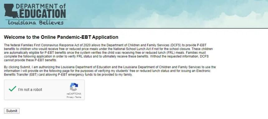 LA P-EBT Application