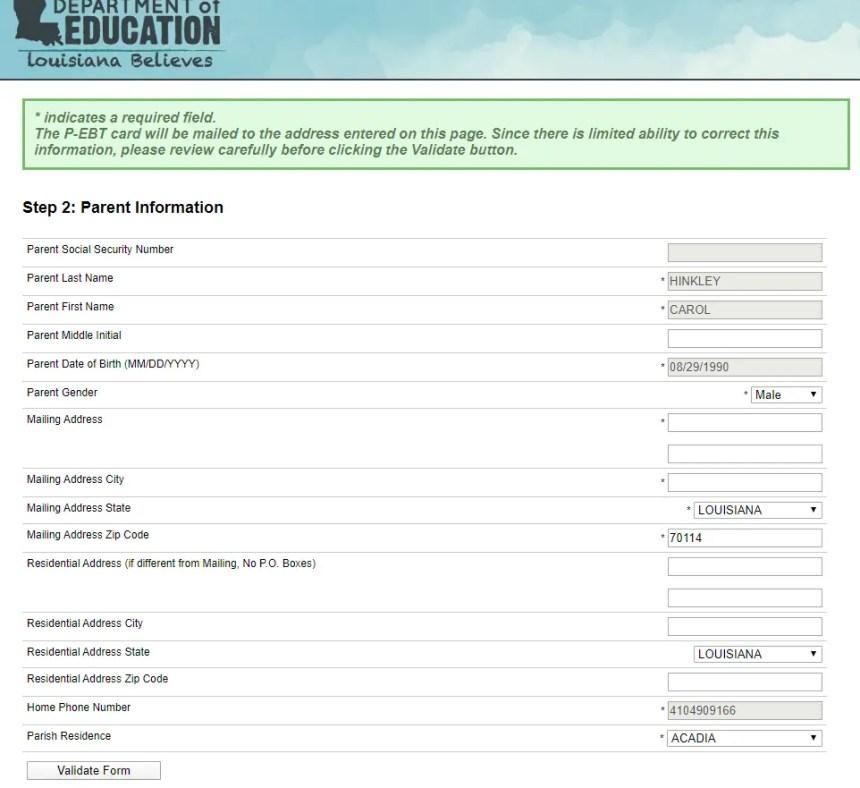 Louisiana P EBT Application