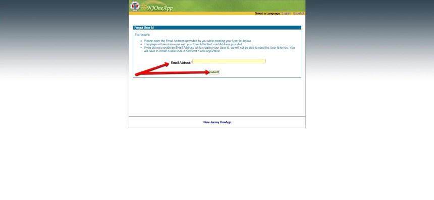 Recover NJOneApp User ID