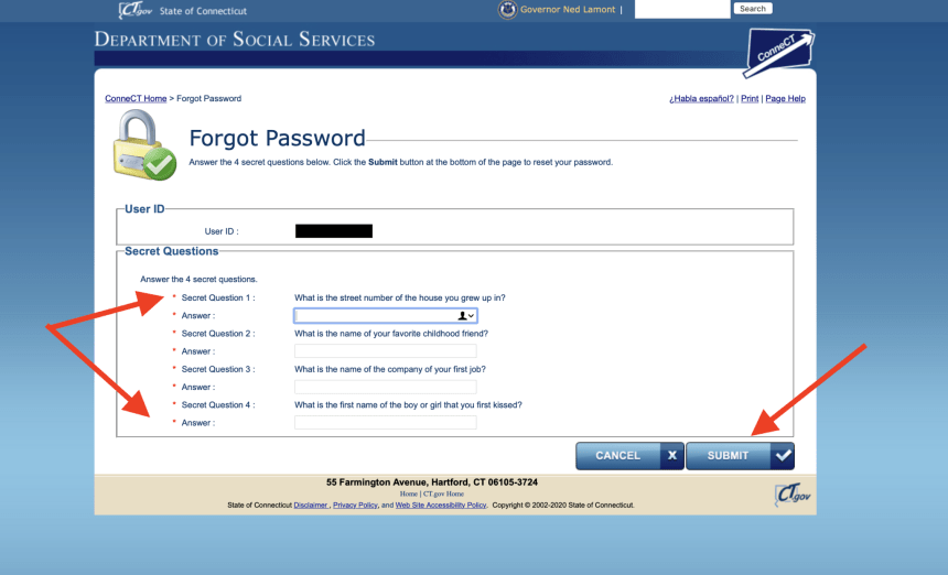 Connect CT gov Password Reset Help
