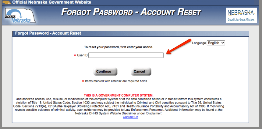 """How to reset ACCESSNebraska Password 2"""