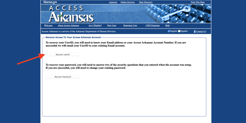 Recover Access Arkansas Gov User ID
