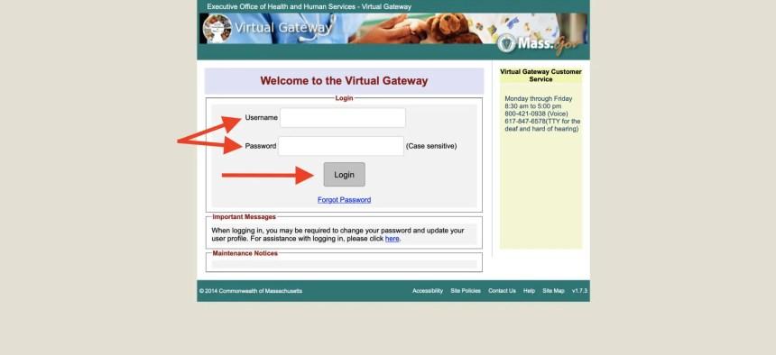 Mass Virtual Gateway Login Page
