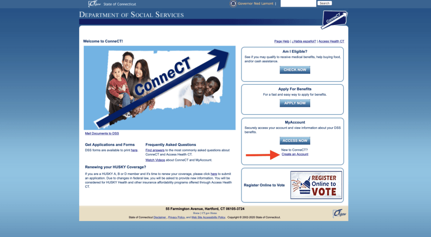 Create a Connect CT Gov account