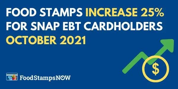 Food Stamps Increase 25% for SNAP EBT Cardholders October 2021