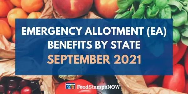 Emergency allotment (EA) benefits September 2021