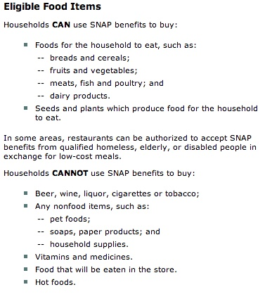 """food stamps list of eligible items"""