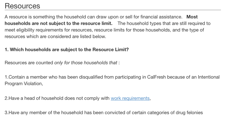 """""""Qualification Guidelines for Food Stamps In California Resource requirement"""""""