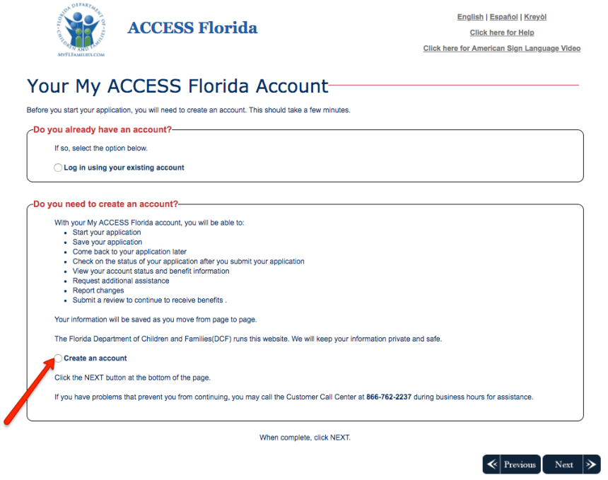 """Create Florida MyACCESS account No case number"""