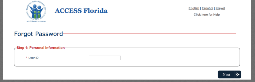 """My Access Florida Account password reset"""
