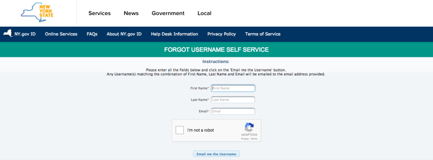 """NY Mybenefits.ny.gov username reset"""