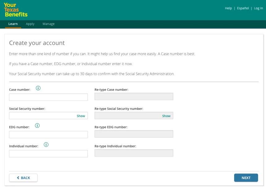 """Yourtexasbenefits.com Create an Account Step 2"""