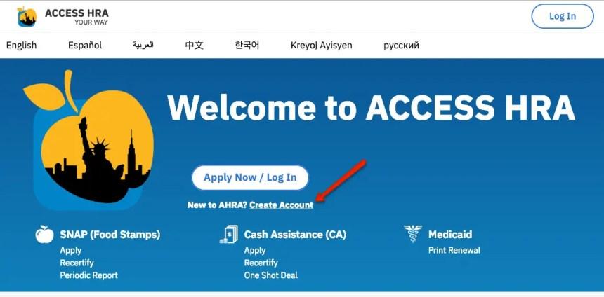 """NYC ACCESS HRA Create Account - 1"""