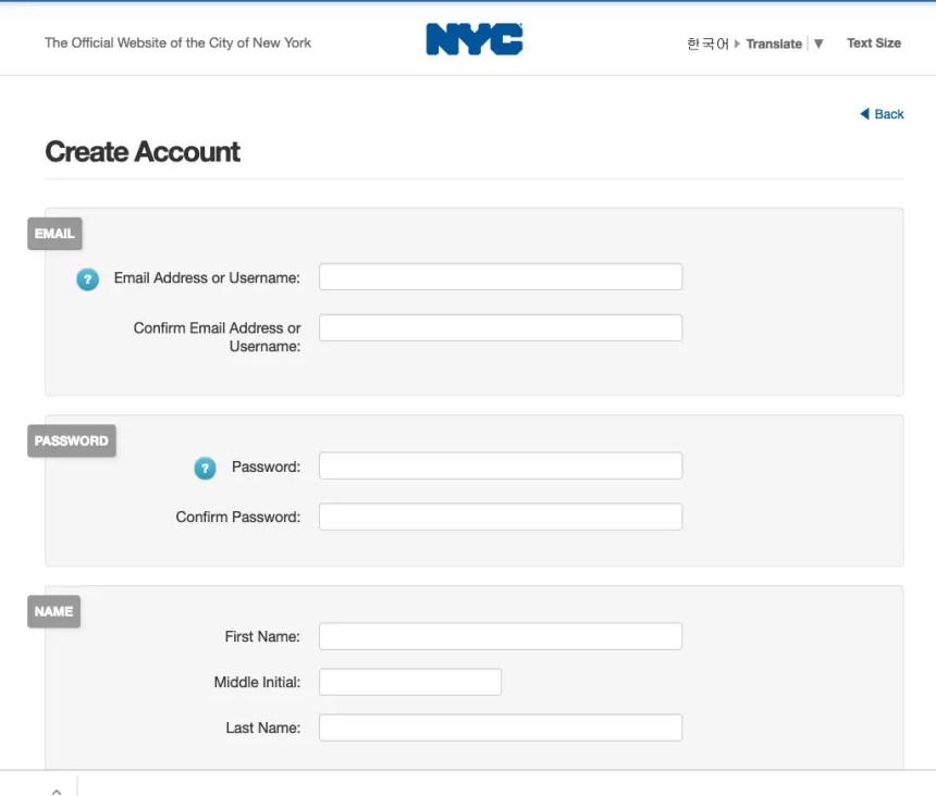 """NYC ACCESS HRA Create Account - 2"""