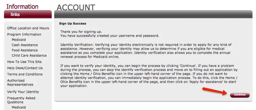 """ssp.benefits.ohio.gov create account 4"""