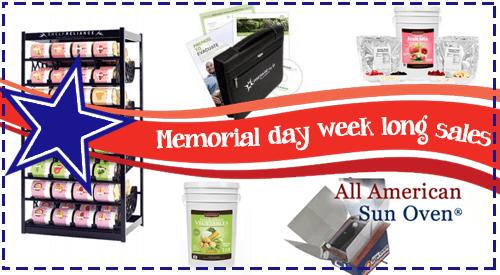 Memorial Day week long sales on food storage and preparedness items