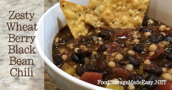 zesty wheat berry black bean chili