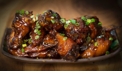 The best chicken wings with an Asian sauce.