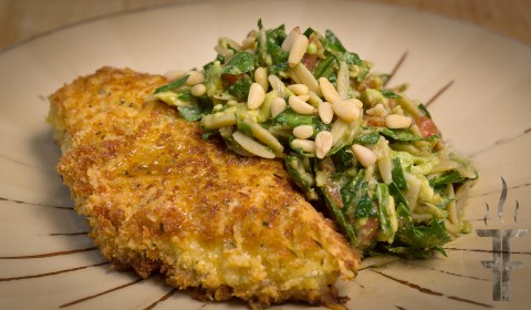Avocado Orzo Pesto with Parmesan Panko Crusted Chicken