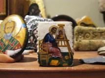 Icon of St. Luke on driftwood