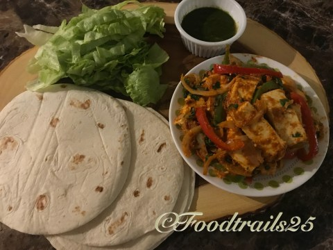 For assembling--tortillas, panner filling, sauces, chutneys and lettuce