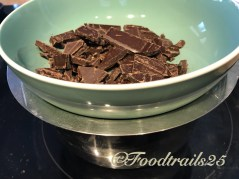 4--Take choclate in a dry bowl and keep on the pan with water , to melt