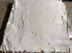Cover with the other half of the cake and spread cream on the top