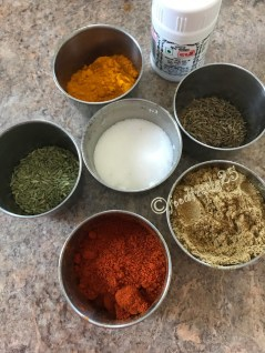 Dry Masala/Spices to be added--Cumin Seeds,Fennel Seeds,Coriander Powder,Turmeric Powder,Red Chilli Powder,Salt, Hing/Asafoetida