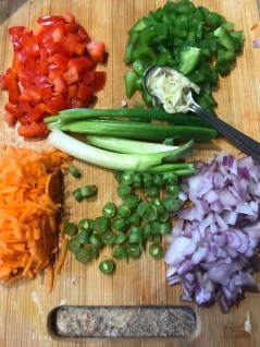 Finely chopped veggies for frid rice