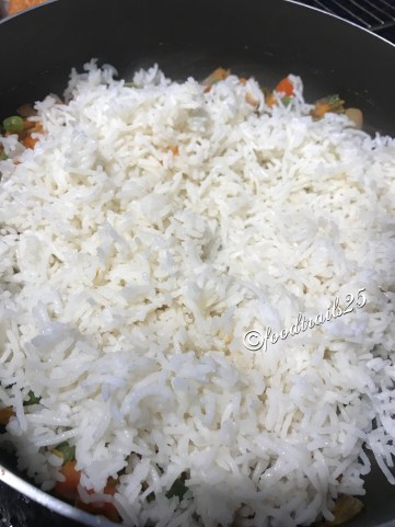 Add rice and gently mix cold refrigetated rice with the veggies
