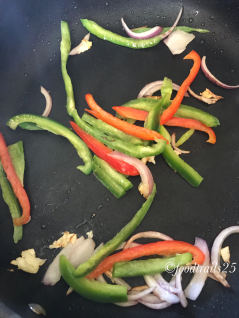 Add colored bell peppers