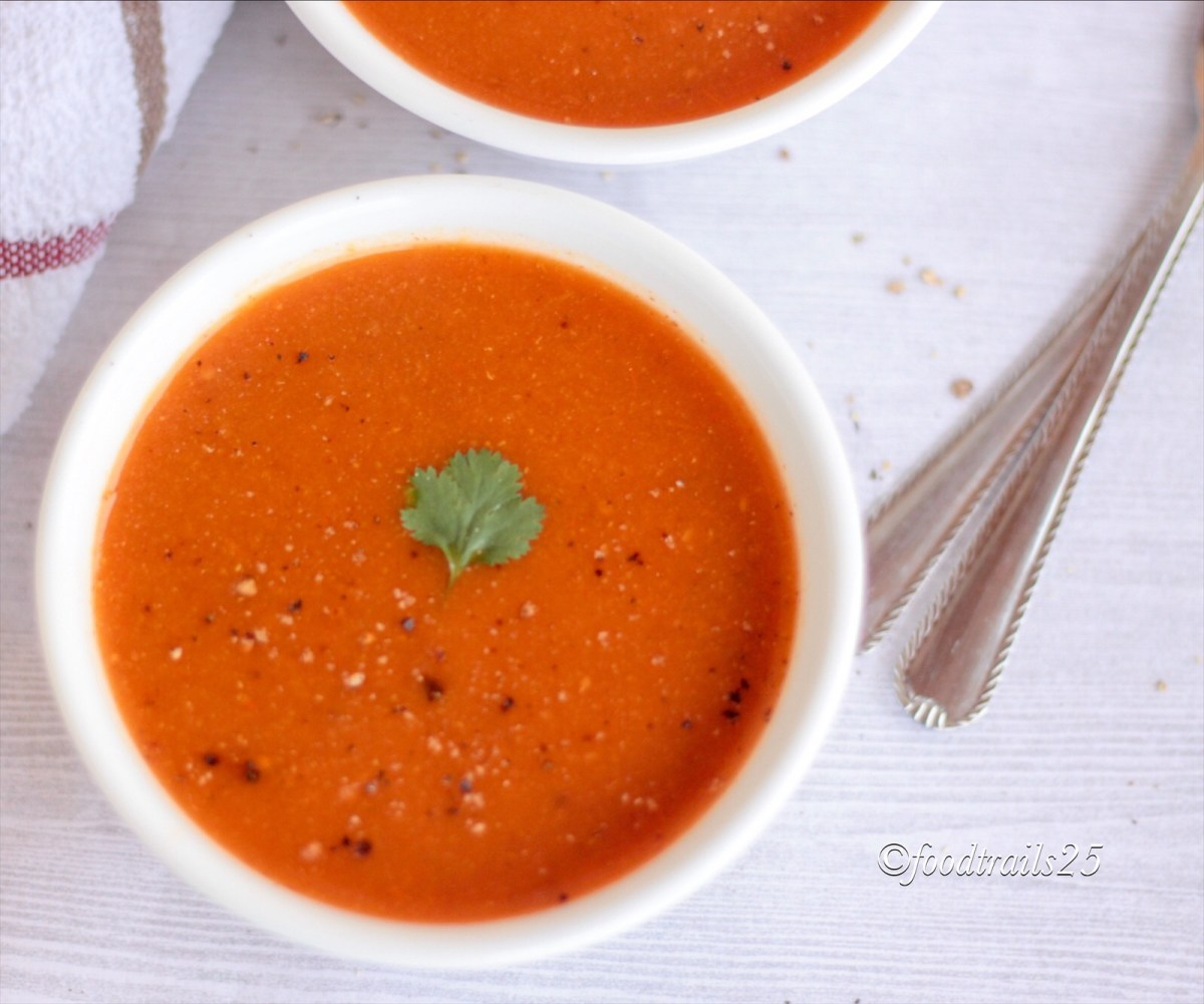 Tomato,Cilantro and Moong Lentil Soup