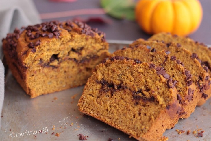 Nutella Swirl Pumpkin Choco chip Bread