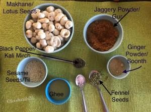Ingredients for Gur Makhana