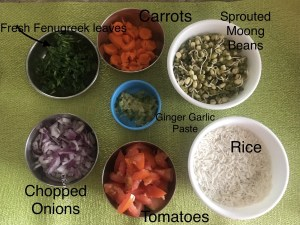 Ingredients for Moong Sprouts Pulao